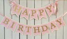 pink and gold birthday banner pink and gold by MerryMakersPapier