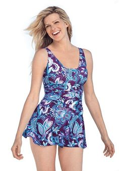 plus size swim & active wear - chloroban skirted swimsuit - plus
