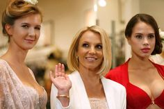 Singer Britney Spears (centre) and models launch of her lingerie collection 'The Intimate Britney Spears Spring/Summer 2015', at a shopping mall in Oberhausen. Reuters/Ina Fassbender
