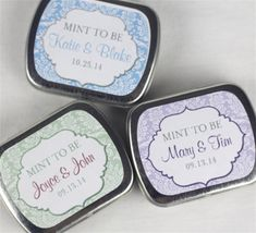 15 Personalized Bridal Shower Favor Tins - Mint to be - by modernzebradesign