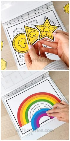 This quiet book busy book, themed for St Patrick's Day is a fun activity for kids! Early learning printable sheets such Kindergarten Learning, Preschool Learning Activities, Alphabet Activities, Fun Activities For Kids, Preschool Worksheets, Early Learning, Book Activities, Counting Activities, Kids Printable Activities