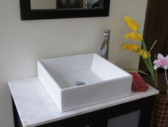 16.5 sq european style ceramic white vessel sink B13 wi/overflow function  $70