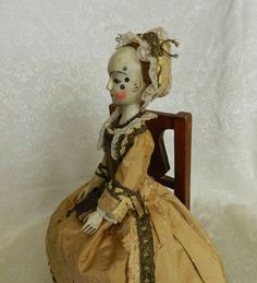 Queen Anne doll reproduction , wooden ,jointed doll ,by The Old Wooden Sisters Wooden Pegs, Wooden Dolls, Ann Doll, New Dolls, Modern Artists, Antique Toys, Queen Anne, Old And New, 18th Century