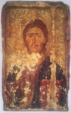 IC.XC__ Icon of Christ Pantokrator, about 1200. Image courtesy of the Byzantine Museum, Kastoria
