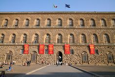 Palace  Pitti Florence Italy.  Dates 1458, originally the town residence of Luca Pitt, a Florentine Banker, bought by the Medici family in 1549, it became the chief residence of the Ruling Family of the Grand Duchy of Tuscany.