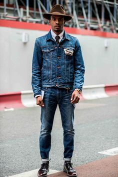 It's all about the hat//* Men's street fashion, denim street fashion, ties and denim, mens accessories