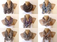 for her , fashion scarf , floral print scarves with pom pom trim , beige mustard , gifts for her. $15.00, via Etsy.