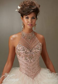Quinceanera Dress 89070 Jeweled Beading on a Ruffled Tulle Ball Gown
