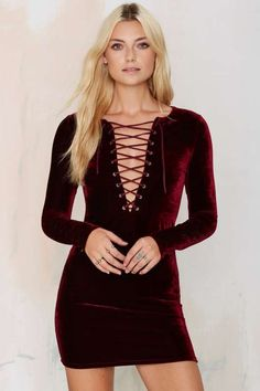 Cities in Dust Velvet Lace Up Dress - Burgundy - Clothes