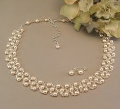 Bridal Necklace and Earring Set Ivory Gown by BridalDiamantes, $154.00