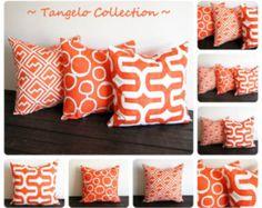 Orange pillow cover ONE cushion cover Tangelo tangerine orange decorative throw pillow cushion cover pillow sham