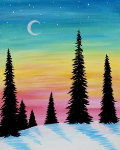Cute Canvas Paintings, Easy Canvas Painting, Winter Painting, Diy Painting, Canvas Art, Sillouette Painting, Painting Tutorials, Winter Drawings, Winter Art Projects