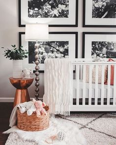 White monochrome gender neutral nursery with copper accents. Mountain Home, Arkansas - Megan Burges Photography. Love the lamp side table combo Baby Bedroom, Nursery Room, Girl Nursery, Girl Room, Kids Bedroom, Nursery Decor, Nursery Ideas, Project Nursery, Bedroom Decor