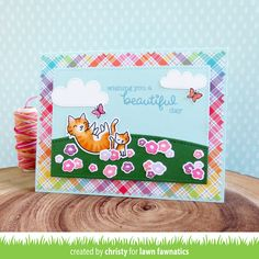 Christy Gets Crafty: Felines & Flowers - Lawn Fawnatics Challenge Scrapbook Cards, Scrapbooking, Paper Craft Making, Lawn Fawn Stamps, School Art Projects, Cat Cards, Animal Cards, Pop Up Cards, Birthday Cards