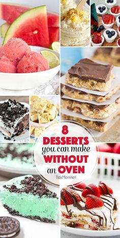 Desserts you can make this summer with out the oven!! 8 Irresistible NO BAKE DESSERT recipes will keep the house cool when it heats up outside at TidyMom.net