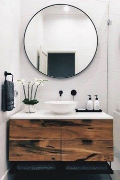 home decor bathroom Modern Scandinavian Bathroom Interior In White - Interior Design Ideas amp; Home Decorating Inspiration - moercar Bathroom Mirror Design, Rustic Bathroom Decor, Bathroom Styling, Bathroom Sets, White Bathroom, Bathroom Interior, Modern Bathroom, Bathroom Vanities, Minimal Bathroom