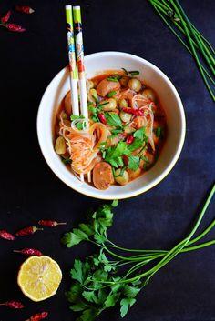 Sopa de Fideos Chinos de Arroz y Verduras