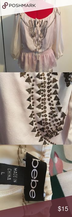 Bebe silk top with beading size L Silk beaded top with front tie gathers at neck bebe Tops Blouses