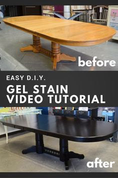How to Apply Gel Stain by General Finishes : No stripping back to raw wood! No power sander required! This video will teach you how to apply General Finishes Gel stains to a previously stained and sealed piece of furniture. Redo Furniture, Stained Table, Refinishing Furniture, Furniture Rehab, Staining Furniture, Black Wood Stain, General Finishes Java Gel Stain, Furniture Makeover, Furniture Plans