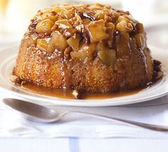 Apple steamed pudding with a sticky toffee sauce