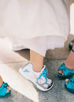 Bridal Running Shoes | DeFiore Photography | blog.theknot.com