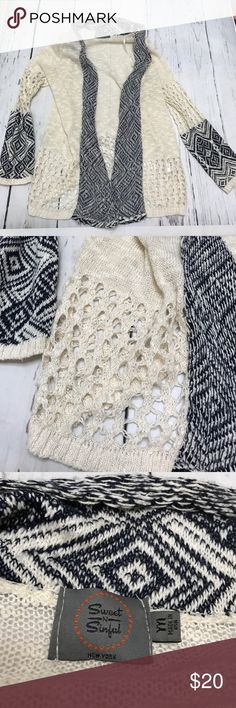 """Sweet N Sinful crochet open cardigan sweater M Measures 25"""" top of shoulder to hem 18 1/2"""" underarm to underarm lying flat cotton acrylic blend. Gently used condition. No holes no stains Sweet N Sinful Sweaters Cardigans"""