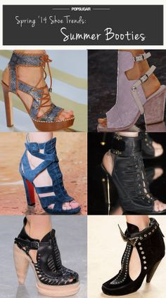 Spring Shoe Trend #3: Summer Booties By now, the bootie's become such a wardrobe staple that it's hardly an exaggeration to say we're not quite sure how we could get dressed without it. It's as if designers read our minds, creating a variety of styles that had a bootie silhouette but flashed some skin by way of cutouts, peep-toes, and exposed heels.