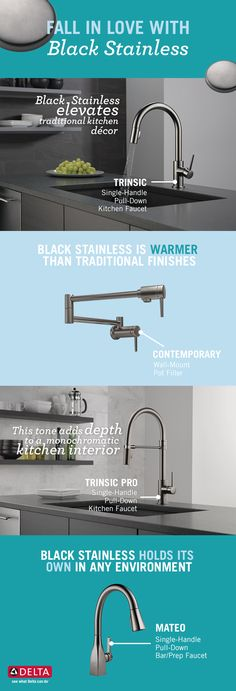 The perfect finish to match your new kitchen appliances—Black Stainless. Diy Kitchen Cabinets, Wooden Kitchen, Kitchen Appliances, Remodeling Mobile Homes, Home Remodeling, Kitchen Interior, Kitchen Decor, Kitchen Ideas, Kitchen On A Budget