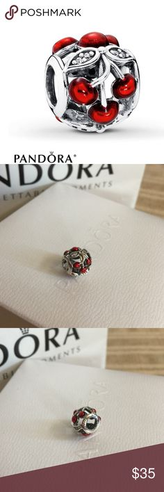 AUTH PANDORA SWEET CHERRIES RED CRYSTALS 925 CHARM AUTHENTIC! Pandora Sweet Cherries charm. Clear cubic zerconias with glossy red cherries. Retail $55 + TAX Does not come with box. Comes with Canvas gift bag! 925 STERLING SILVER💎 No flaws or signs of wear. NO TRADES QUESTIONS FROM NON SERIOUS BUYERS DO NOT BUNDLE UNLESS YOU INTEND TO BUY DO NOT LOWBALL PRICE IS FIRM AND REFLECTED ON FEES AND OUT OF POCKET COSTS Pandora Jewelry