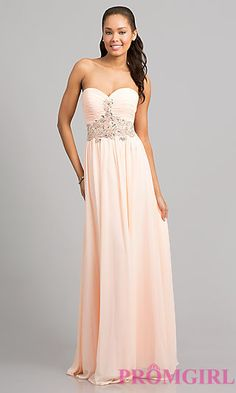 Elegant Strapless Evening Gown at PromGirl.com