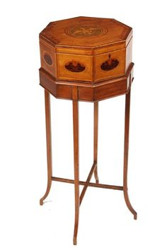 Hepplewhite Marquetry Sewing Box on Stand. Marquetry Inlaid Wood. New England. Circa 1810.
