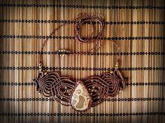 Макраме ожерелье с Leopardite Джаспер. Бохо, хиппи, цыганский, богемный, племенной