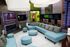 With a customizable Canadian-made Preston sectional, accent pillows, accessories and a Sharp AQUOS LED HDTV Smart TV, houseguests can cozy up -- and get clever. Living Room Furniture, Living Room Decor, Big Brother Canada, Big Brother House, Design Your Home, Home Hacks, Home Organization, Outdoor Furniture Sets, Master Bedroom