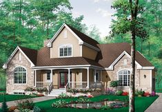 staircase!!!!  Country Style House Plans - 2204 Square Foot Home , 2 Story, 3 Bedroom and 2 Bath, 2 Garage Stalls by Monster House Plans - Plan 5-295