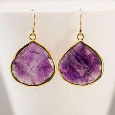 10% Off - Bezel Amethyst Earrings - February Birthstone Earrings - Gold Earrings - Purple Earrings. $76.00, via Etsy.