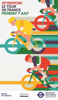 Adrian johnson / commercial work / transport for london - tour de france&am Graphic Design Posters, Graphic Design Illustration, Adrian Johnson, Layout Design, Design Art, Bicycle Illustration, Bike Poster, Bicycle Art, Bicycle Design