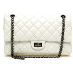 Pre-owned Chanel Shoulder Bag ($2,804) ❤ liked on Polyvore featuring bags, handbags, shoulder bags, apparel & accessories, wallets & cases, shoulder strap handbags, chanel handbags, patent leather purse, shoulder handbags and white purse