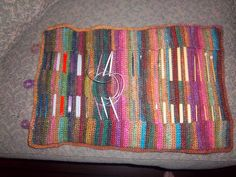 Knitting needle case using Noro Silk Garden in 3 different color palettes