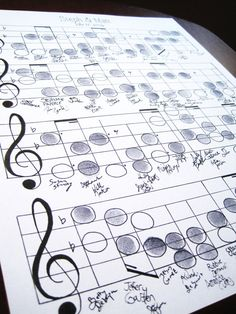 wedding music notes for thumbprints and guests can sign underneath. this is so fun and different!