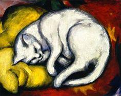 Le chat blanc (également connu sous le nom Tom Cat sur coussin jaune) - (Franz Marc)