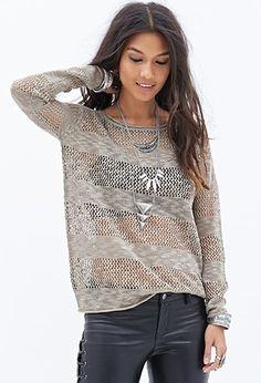 Striped Open-Knit Sweater. | pinkshadebykimberly.com