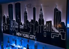 LED Lighted New York City Skyline Art - Featured Buildings: (left to right) 200 Vessey St, 225 Liberty St, World Trade Center Towers, Manhattan Bridge, Statue of Liberty, Empire State Building, 432 Park Ave, Chrysler Building, Brooklyn Bridge, Bank of America Tower