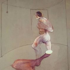 """Francis Bacon's works are intimate  mesmerizing and awe inspiring - this one no less so. Study from the human body after Muybridge 1988 oil on canvas 198 x 147.5cm. """"One of the last paintings by Bacon before his death in 1992...a tribute to... the pioneering 19th century British photographer Eadweard Muybridge... """" Francis Bacon Five Decades Anthony Bond Eadweard Muybridge, Francis Bacon, Human Body, 19th Century, Oil On Canvas, Bond, Death, British, Study"""