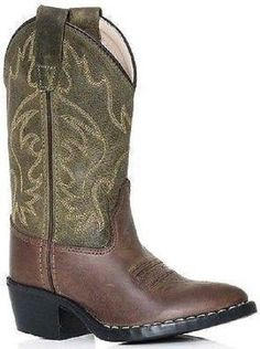 Old West Black Childrens Boys Corona Calf Leather Roper Sole Cowboy Boots