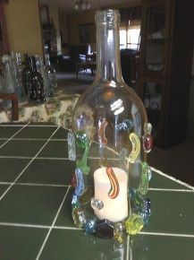wine bottle lamps, crafts, repurposing upcycling, Another example of my bottle lamps