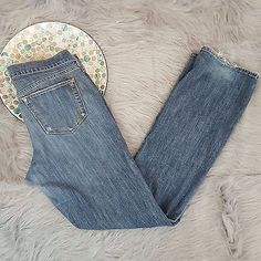 Old Navy The Flirt Womens Size 10 Long Boot Cut Blue Jeans #417