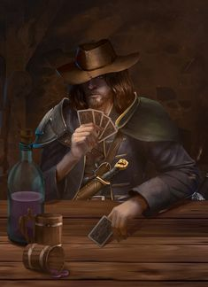 m Rogue Arcane Trickster Leather Armor Hat Dagger Cards male Tavern urban Town story Bromley Lionbrand by Vlad Ogorodnyk ArtStation lg Fantasy Character Design, Character Concept, Character Inspiration, Character Art, D D Characters, Fantasy Characters, Fantasy Rpg, Dark Fantasy, Dungeons And Dragons 5e