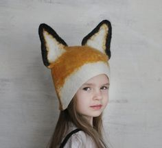 Fox Hat  Hand Felted Wool  Size Medium/Large by vaivanat on Etsy, $35.00