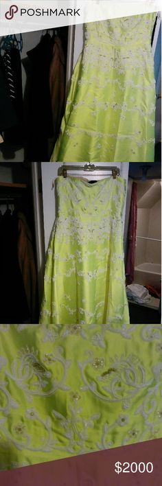 VALENTINO ORIGINAL GOWN Beautiful Neon Lime Gown beaded. Strapless. Side zipper. Worn once in perfect condition VALENTINO  Dresses Maxi