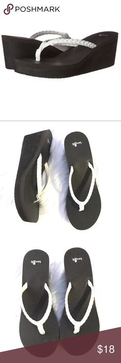 Sanuk White Braided Thong Wedge Sandals Size- 9  Condition- Gently worn, nearly no signs of wear. Sanuk Shoes Sandals
